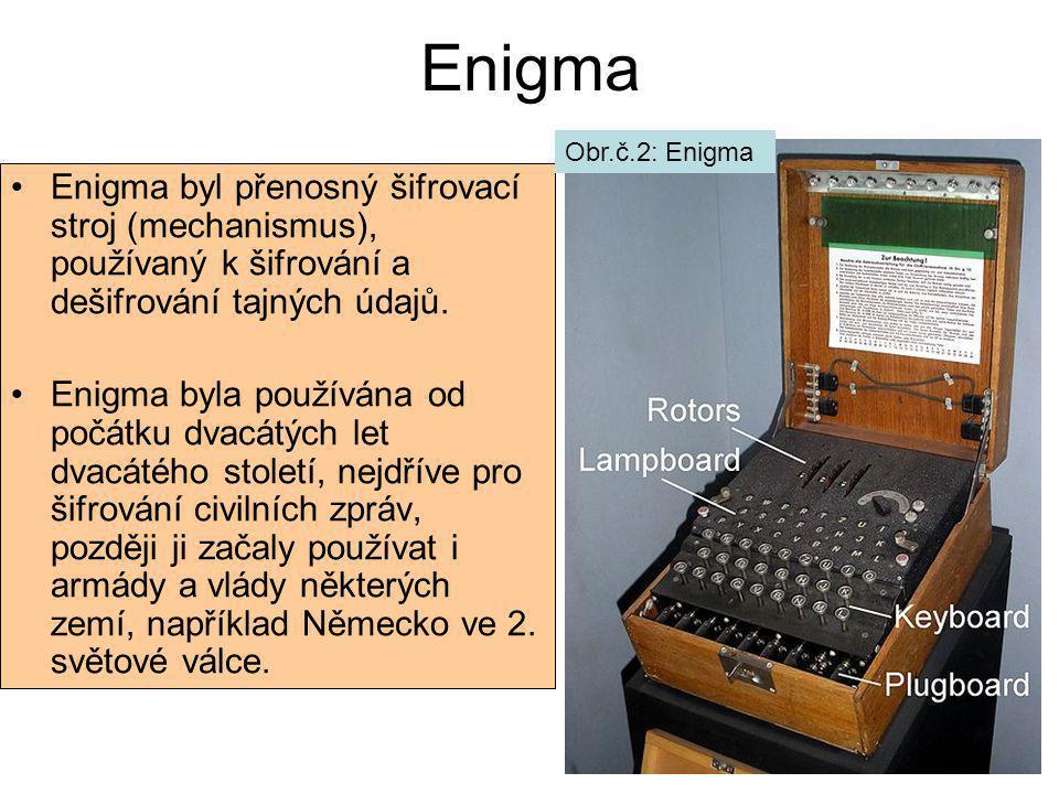 Enigma Enigma byl přenosný šifrovací stroj (mechanismus), používaný k šifrování a dešifrování tajných údajů. Enigma byla používána od počátku dvacátýc