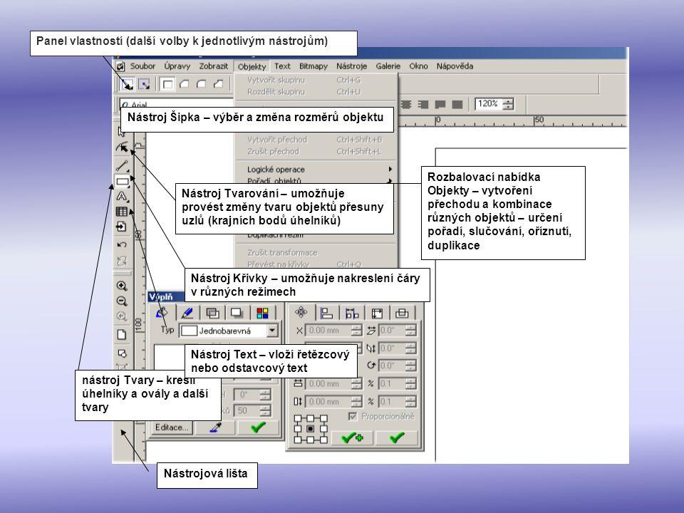 Nástrojová lišta Panel vlastností (další volby k jednotlivým nástrojům) Nástroj Šipka – výběr a změna rozměrů objektu Rozbalovací nabídka Objekty – vy
