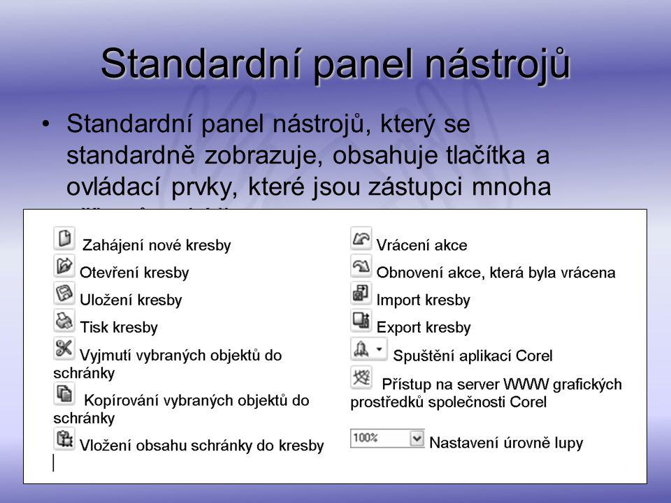 Standardní panel nástrojů Standardní panel nástrojů, který se standardně zobrazuje, obsahuje tlačítka a ovládací prvky, které jsou zástupci mnoha přík
