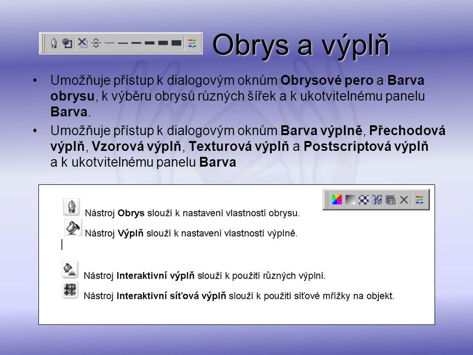 Obrys a výplň Obrys a výplň Umožňuje přístup k dialogovým oknům Obrysové pero a Barva obrysu, k výběru obrysů různých šířek a k ukotvitelnému panelu B