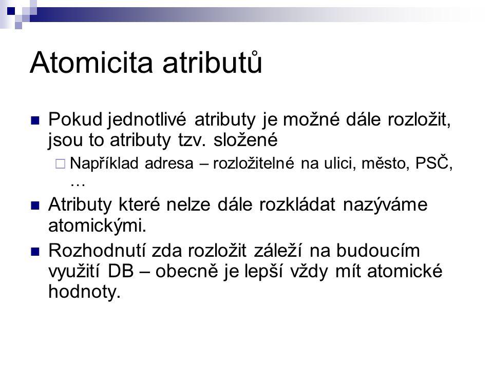 Atomicita atributů Pokud jednotlivé atributy je možné dále rozložit, jsou to atributy tzv. složené  Například adresa – rozložitelné na ulici, město,