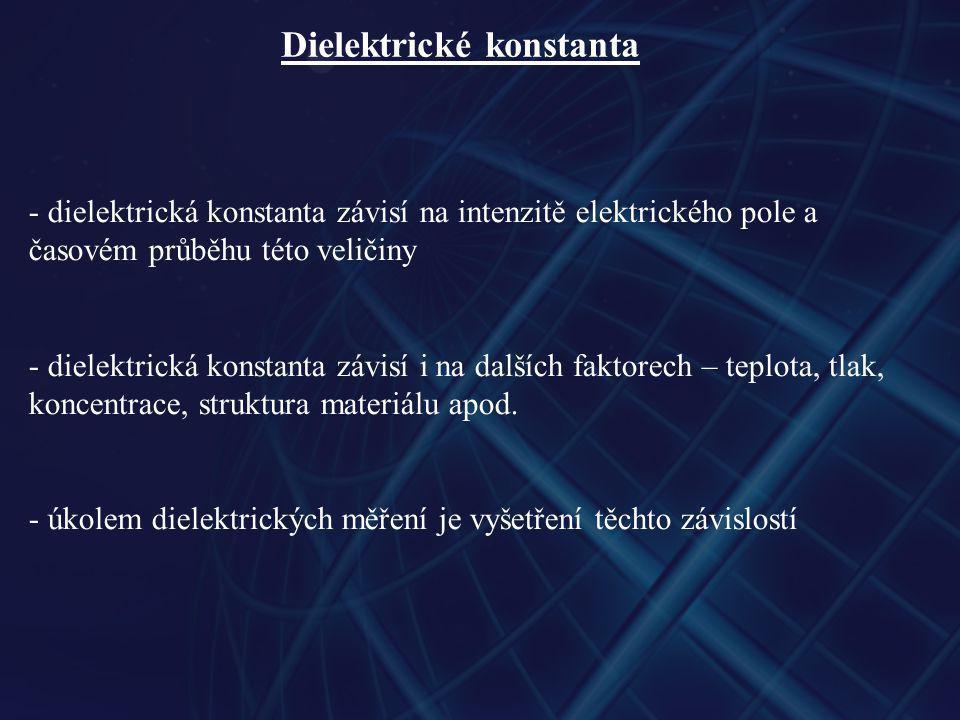 Dielektrické konstanta - dielektrická konstanta závisí na intenzitě elektrického pole a časovém průběhu této veličiny - dielektrická konstanta závisí