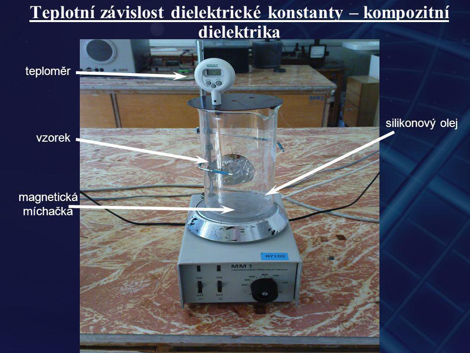 Teplotní závislost dielektrické konstanty – kompozitní dielektrika magnetická míchačka vzorek teploměr silikonový olej