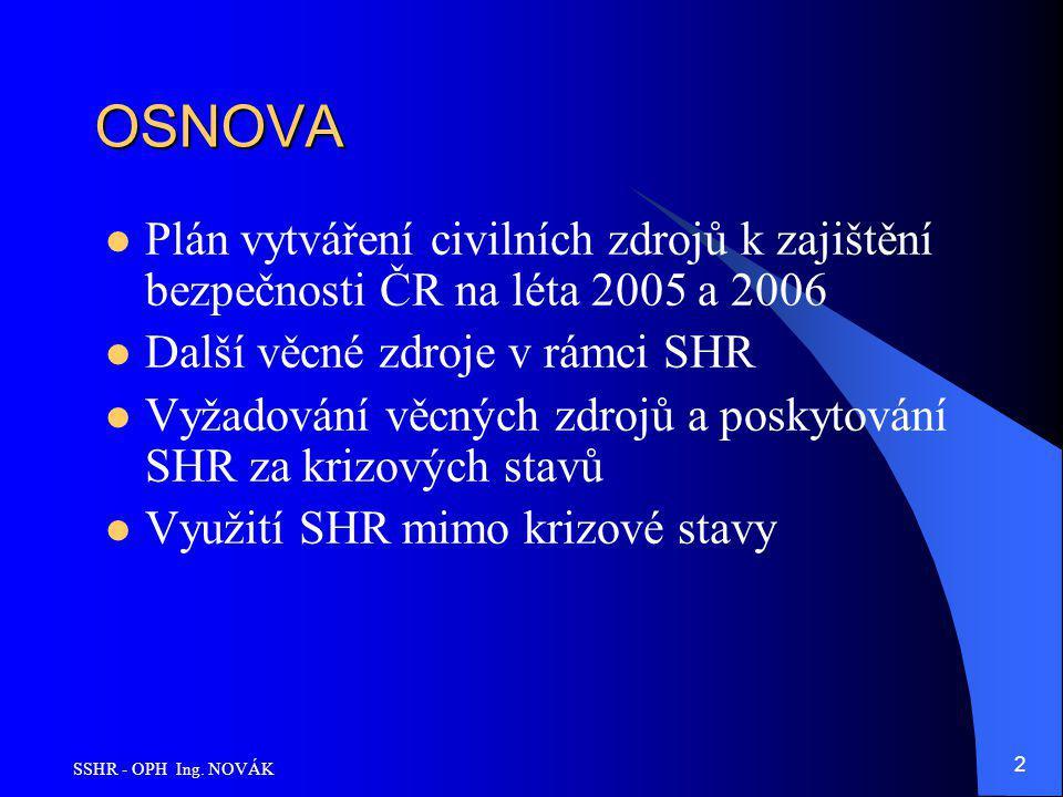 SSHR - OPH Ing. NOVÁK 2 OSNOVA Plán vytváření civilních zdrojů k zajištění bezpečnosti ČR na léta 2005 a 2006 Další věcné zdroje v rámci SHR Vyžadován