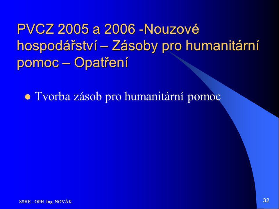 SSHR - OPH Ing. NOVÁK 32 PVCZ 2005 a 2006 -Nouzové hospodářství – Zásoby pro humanitární pomoc – Opatření Tvorba zásob pro humanitární pomoc