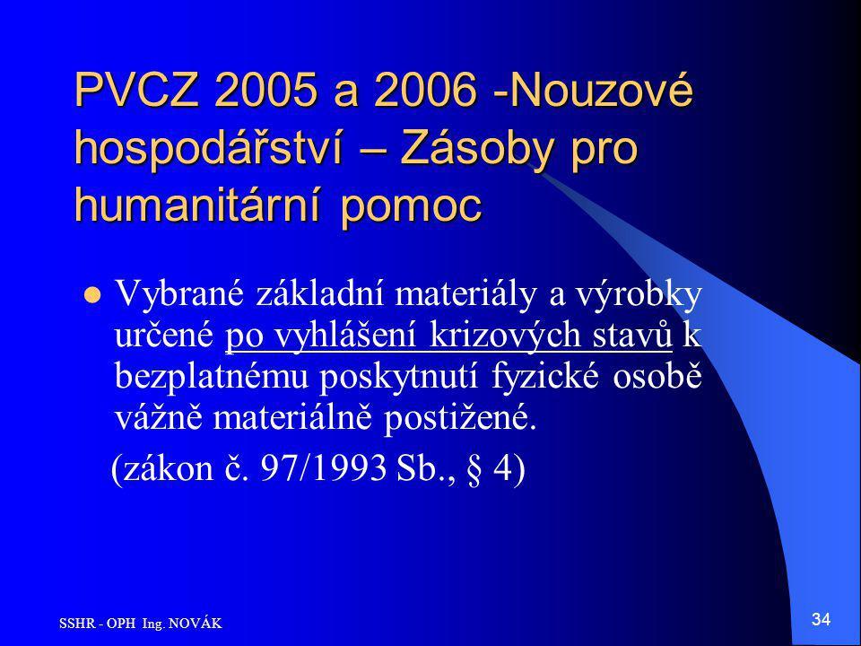 SSHR - OPH Ing. NOVÁK 34 PVCZ 2005 a 2006 -Nouzové hospodářství – Zásoby pro humanitární pomoc Vybrané základní materiály a výrobky určené po vyhlášen