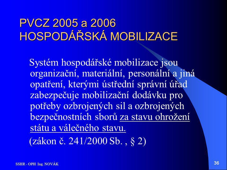 SSHR - OPH Ing. NOVÁK 36 PVCZ 2005 a 2006 HOSPODÁŘSKÁ MOBILIZACE Systém hospodářské mobilizace jsou organizační, materiální, personální a jiná opatřen
