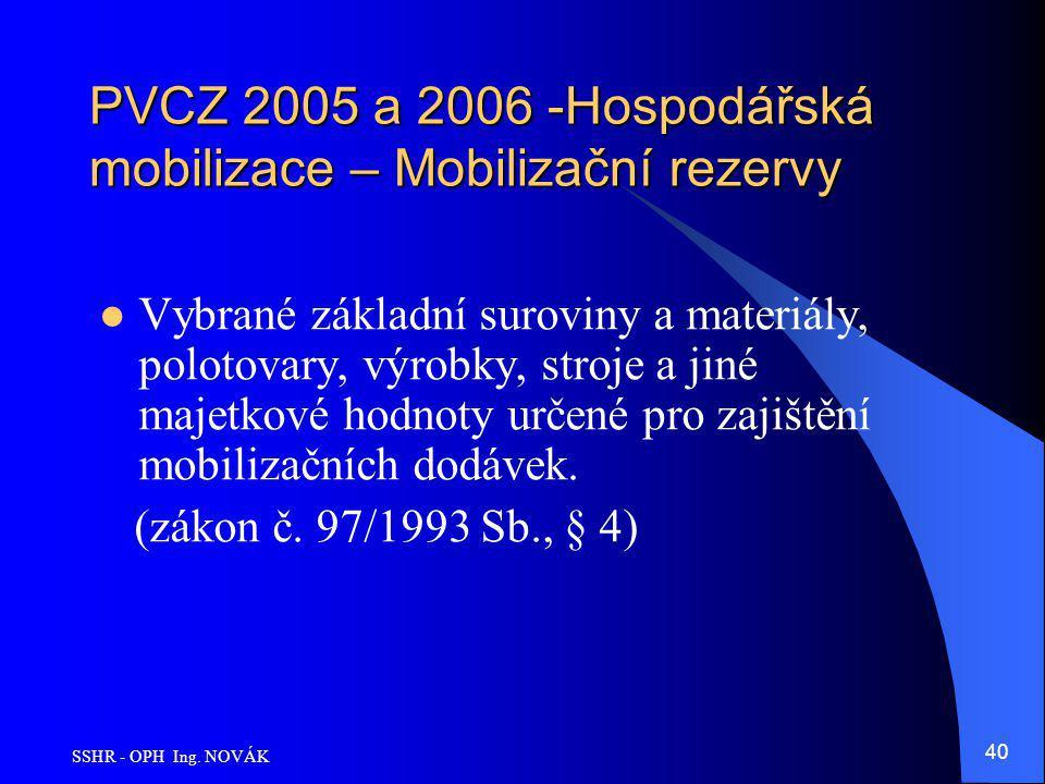 SSHR - OPH Ing. NOVÁK 40 PVCZ 2005 a 2006 -Hospodářská mobilizace – Mobilizační rezervy Vybrané základní suroviny a materiály, polotovary, výrobky, st