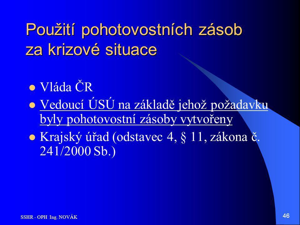 SSHR - OPH Ing. NOVÁK 46 Použití pohotovostních zásob za krizové situace Vláda ČR Vedoucí ÚSÚ na základě jehož požadavku byly pohotovostní zásoby vytv