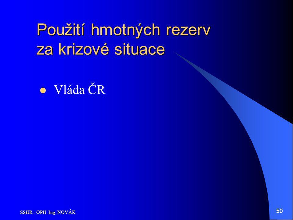 SSHR - OPH Ing. NOVÁK 50 Použití hmotných rezerv za krizové situace Vláda ČR