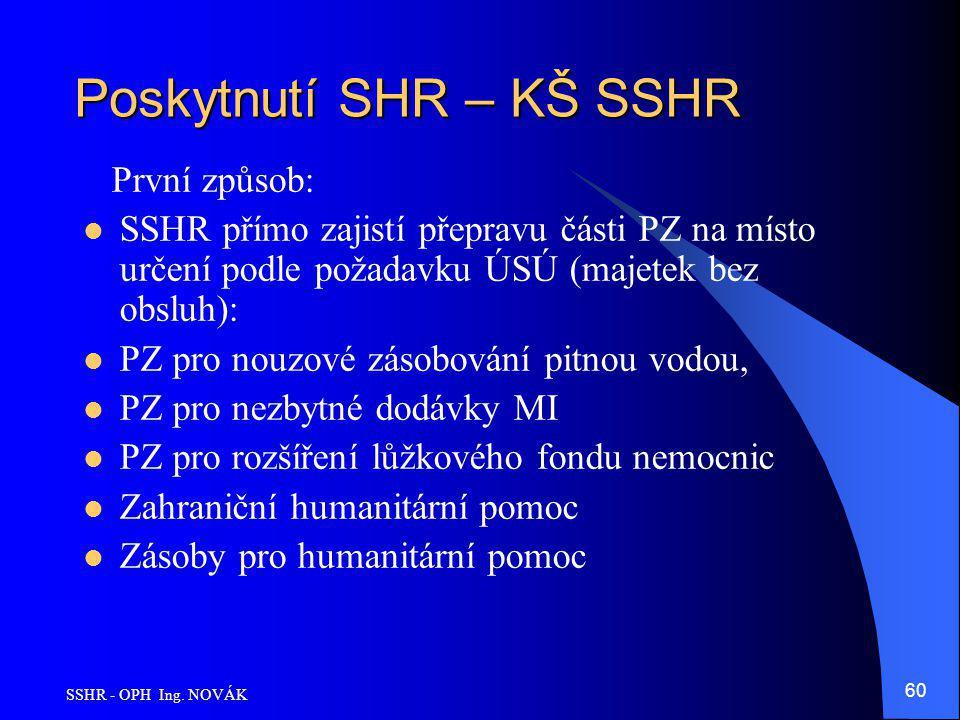 SSHR - OPH Ing. NOVÁK 60 Poskytnutí SHR – KŠ SSHR První způsob: SSHR přímo zajistí přepravu části PZ na místo určení podle požadavku ÚSÚ (majetek bez