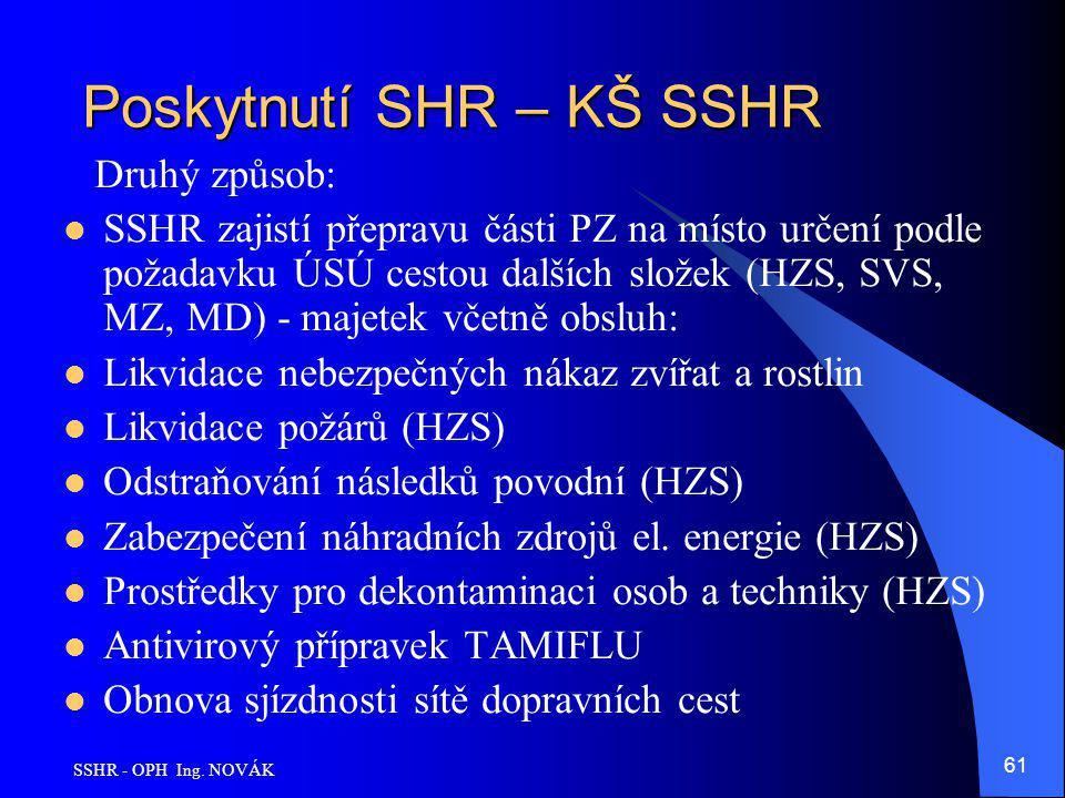 SSHR - OPH Ing. NOVÁK 61 Poskytnutí SHR – KŠ SSHR Druhý způsob: SSHR zajistí přepravu části PZ na místo určení podle požadavku ÚSÚ cestou dalších slož