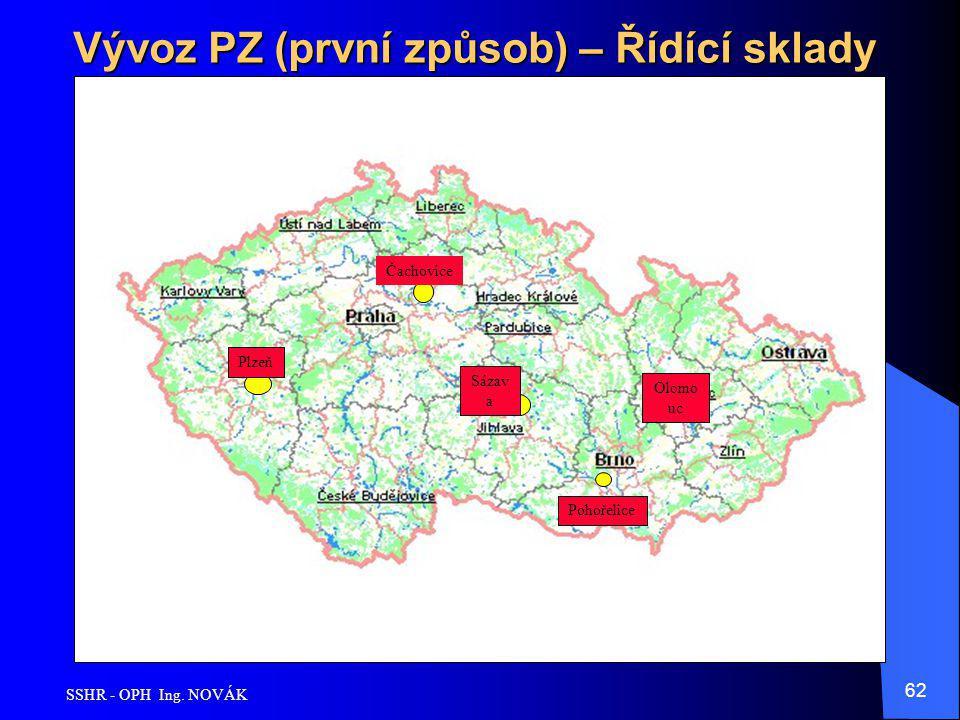 SSHR - OPH Ing. NOVÁK 62 Vývoz PZ (první způsob) – Řídící sklady Pohořelice Sázav a Čachovice Plzeň Olomo uc