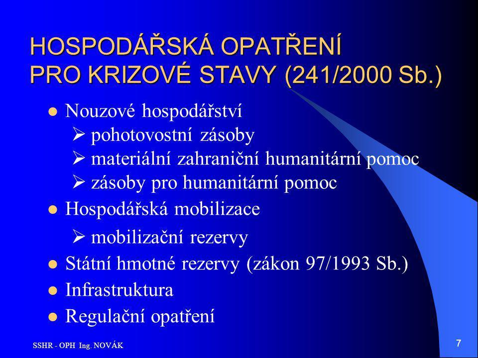 SSHR - OPH Ing. NOVÁK 7 HOSPODÁŘSKÁ OPATŘENÍ PRO KRIZOVÉ STAVY (241/2000 Sb.) Nouzové hospodářství  pohotovostní zásoby  materiální zahraniční human