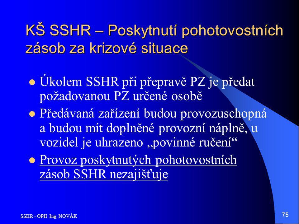SSHR - OPH Ing. NOVÁK 75 KŠ SSHR – Poskytnutí pohotovostních zásob za krizové situace Úkolem SSHR při přepravě PZ je předat požadovanou PZ určené osob