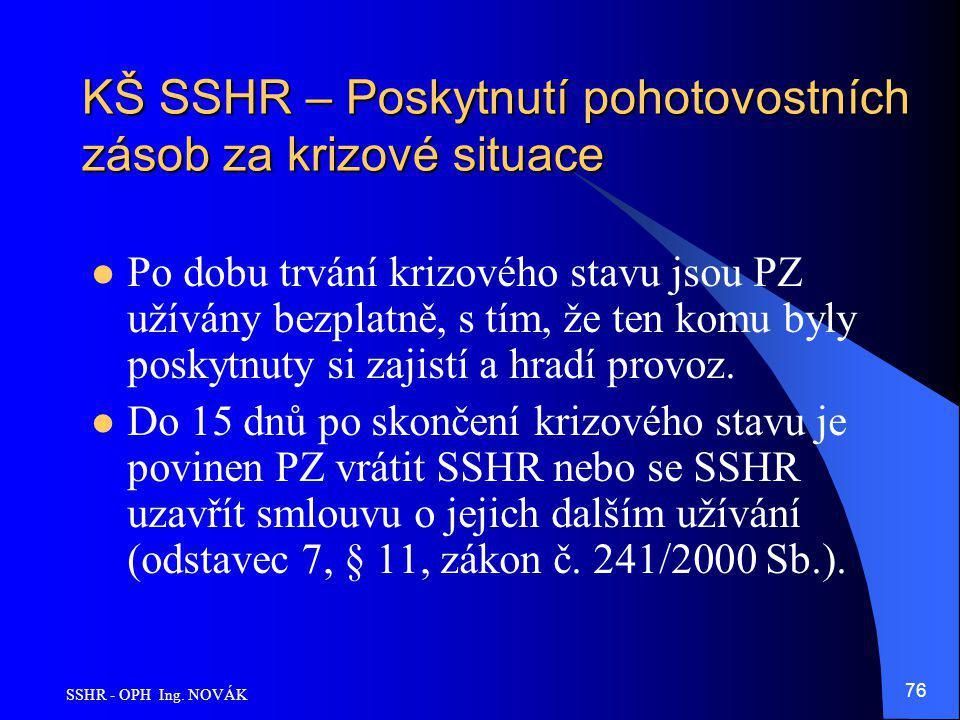 SSHR - OPH Ing. NOVÁK 76 KŠ SSHR – Poskytnutí pohotovostních zásob za krizové situace Po dobu trvání krizového stavu jsou PZ užívány bezplatně, s tím,