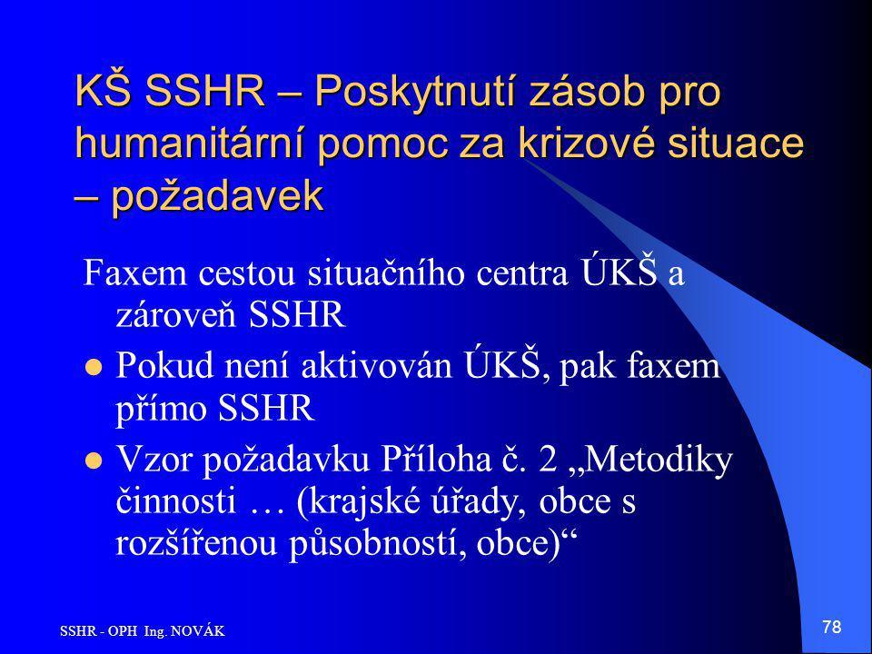 SSHR - OPH Ing. NOVÁK 78 KŠ SSHR – Poskytnutí zásob pro humanitární pomoc za krizové situace – požadavek Faxem cestou situačního centra ÚKŠ a zároveň