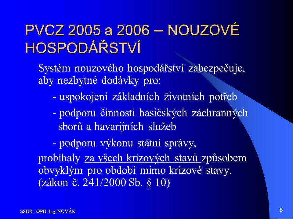 SSHR - OPH Ing. NOVÁK 8 PVCZ 2005 a 2006 – NOUZOVÉ HOSPODÁŘSTVÍ Systém nouzového hospodářství zabezpečuje, aby nezbytné dodávky pro: - uspokojení zákl