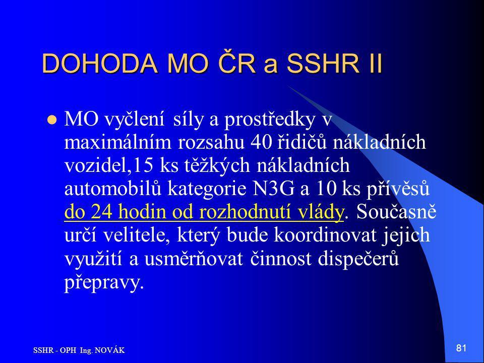 SSHR - OPH Ing. NOVÁK 81 DOHODA MO ČR a SSHR II MO vyčlení síly a prostředky v maximálním rozsahu 40 řidičů nákladních vozidel,15 ks těžkých nákladníc