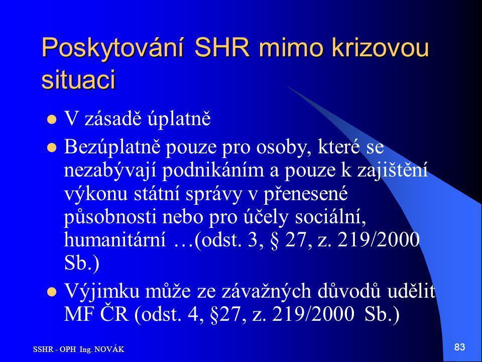SSHR - OPH Ing. NOVÁK 83 Poskytování SHR mimo krizovou situaci V zásadě úplatně Bezúplatně pouze pro osoby, které se nezabývají podnikáním a pouze k z