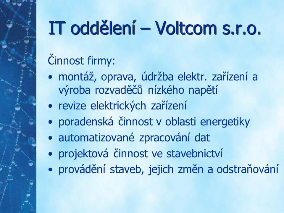 IT oddělení – Voltcom s.r.o. Činnost firmy: montáž, oprava, údržba elektr. zařízení a výroba rozvaděčů nízkého napětí revize elektrických zařízení por