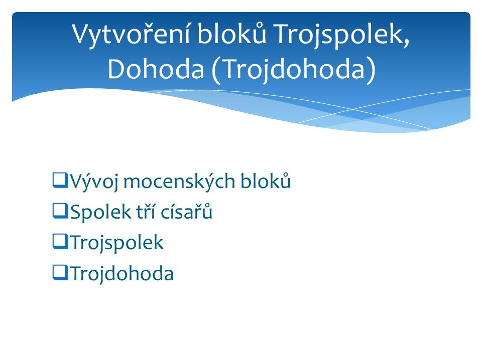  Vývoj mocenských bloků  Spolek tří císařů  Trojspolek  Trojdohoda Vytvoření bloků Trojspolek, Dohoda (Trojdohoda)