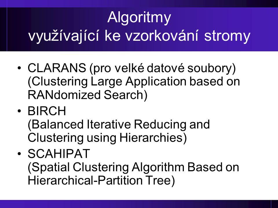 Algoritmy využívající ke vzorkování stromy CLARANS (pro velké datové soubory) (Clustering Large Application based on RANdomized Search) BIRCH (Balance