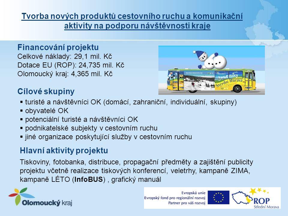 Financování projektu Celkové náklady: 29,1 mil. Kč Dotace EU (ROP): 24,735 mil.