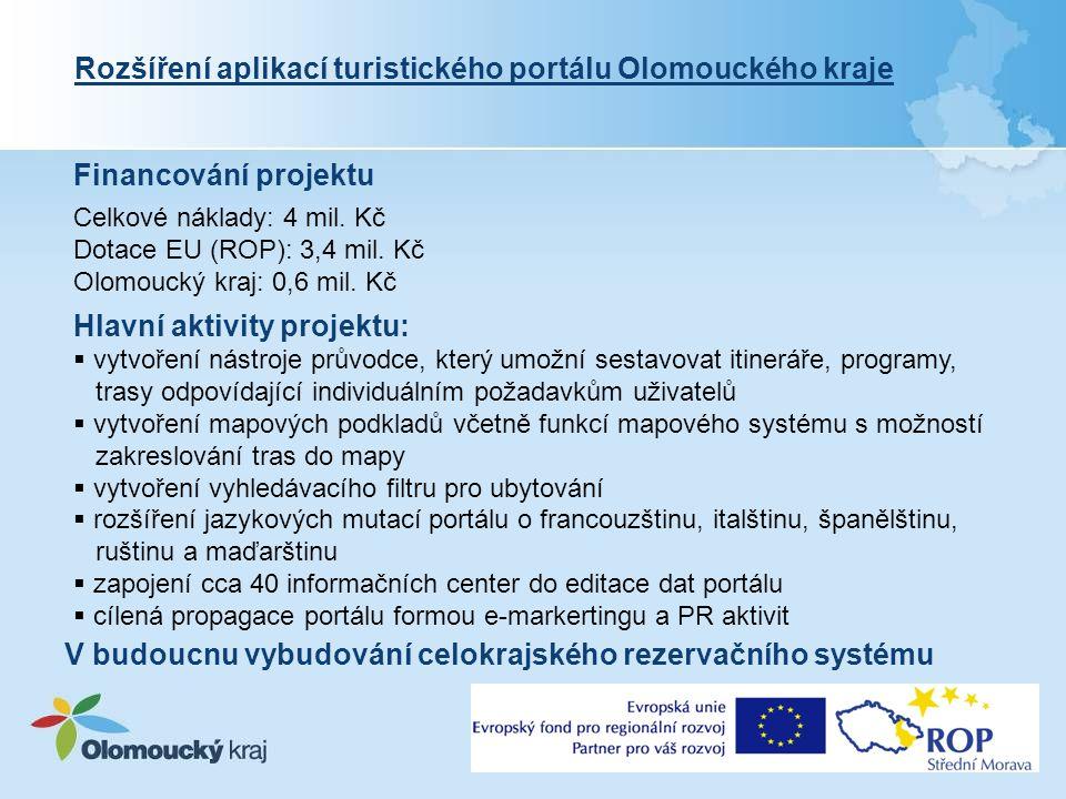 Financování projektu Rozšíření aplikací turistického portálu Olomouckého kraje Celkové náklady: 4 mil.