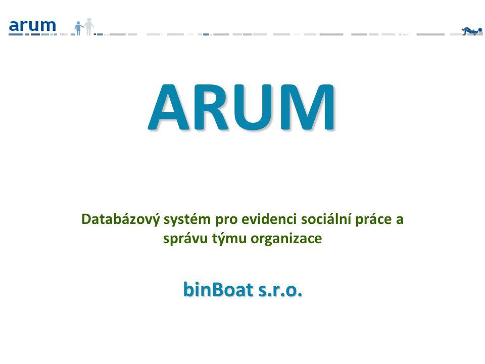 ARUM Databázový systém pro evidenci sociální práce a správu týmu organizace binBoat s.r.o.