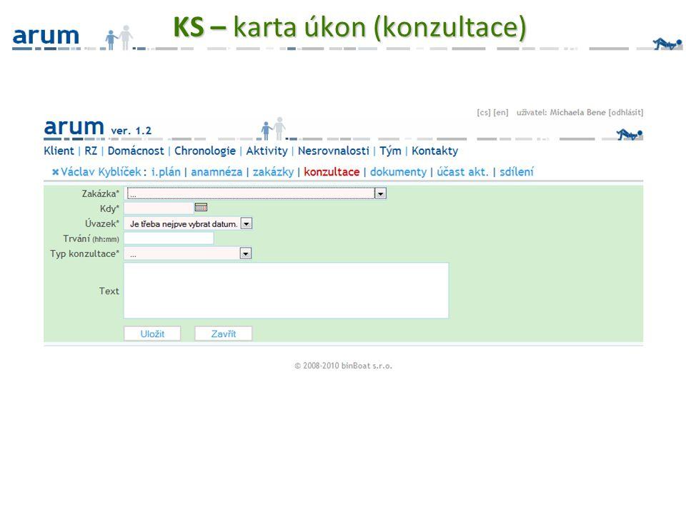 KS – karta úkon (konzultace)