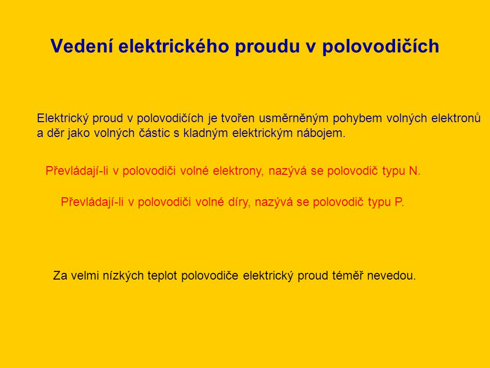 Vedení elektrického proudu v polovodičích Elektrický proud v polovodičích je tvořen usměrněným pohybem volných elektronů a děr jako volných částic s k