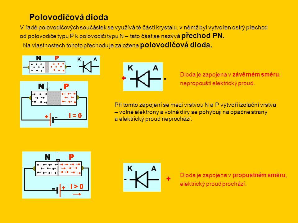 Polovodičová dioda V řadě polovodičových součástek se využívá té části krystalu, v němž byl vytvořen ostrý přechod od polovodiče typu P k polovodiči t