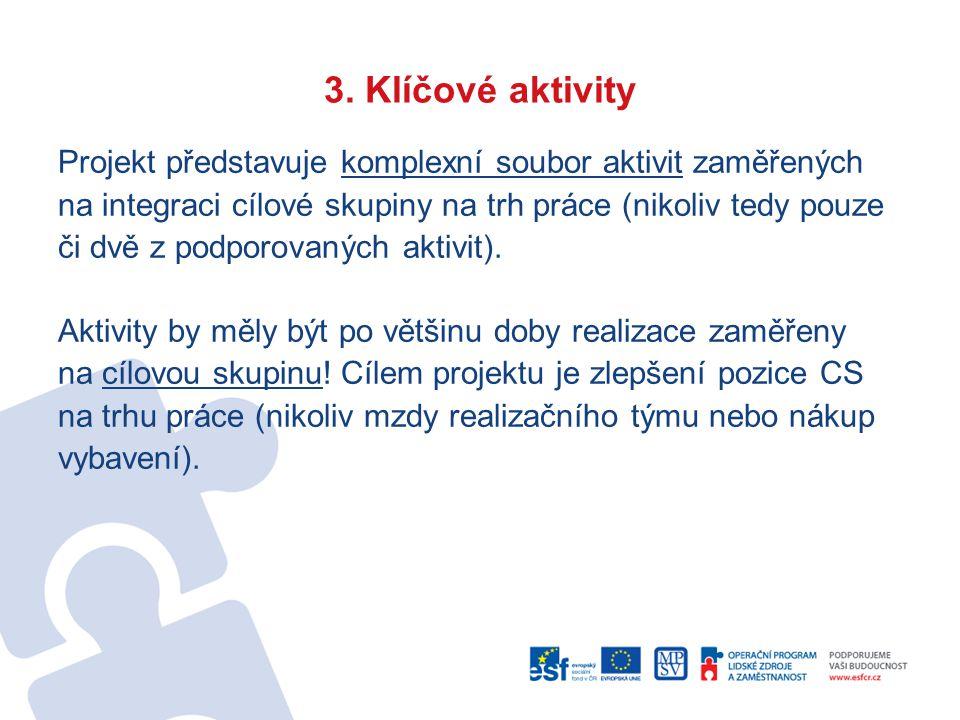 3. Klíčové aktivity Projekt představuje komplexní soubor aktivit zaměřených na integraci cílové skupiny na trh práce (nikoliv tedy pouze či dvě z podp