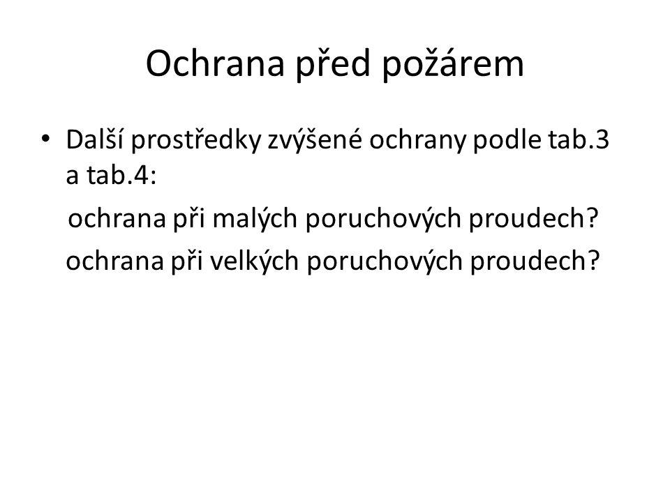Ochrana před požárem Další prostředky zvýšené ochrany podle tab.3 a tab.4: ochrana při malých poruchových proudech? ochrana při velkých poruchových pr