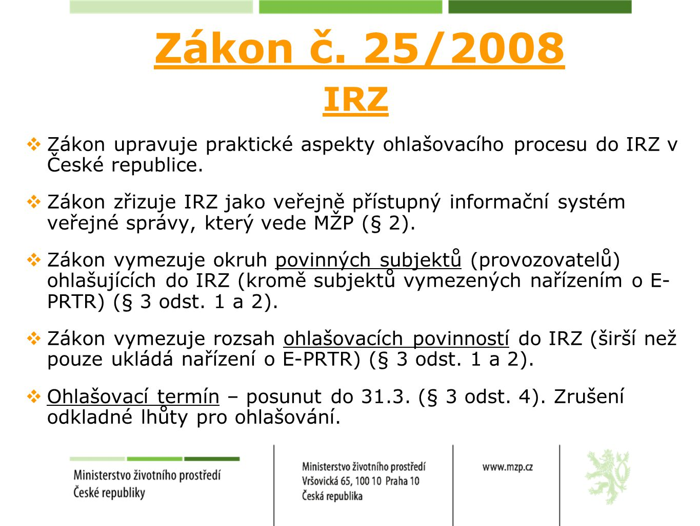 Zákon č. 25/2008 IRZ  Zákon upravuje praktické aspekty ohlašovacího procesu do IRZ v České republice.  Zákon zřizuje IRZ jako veřejně přístupný info