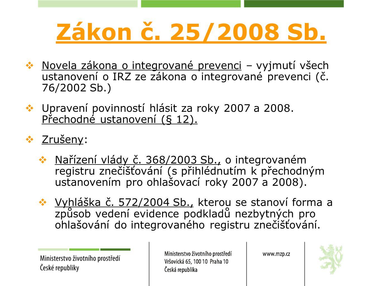  Novela zákona o integrované prevenci – vyjmutí všech ustanovení o IRZ ze zákona o integrované prevenci (č. 76/2002 Sb.)  Upravení povinností hlásit