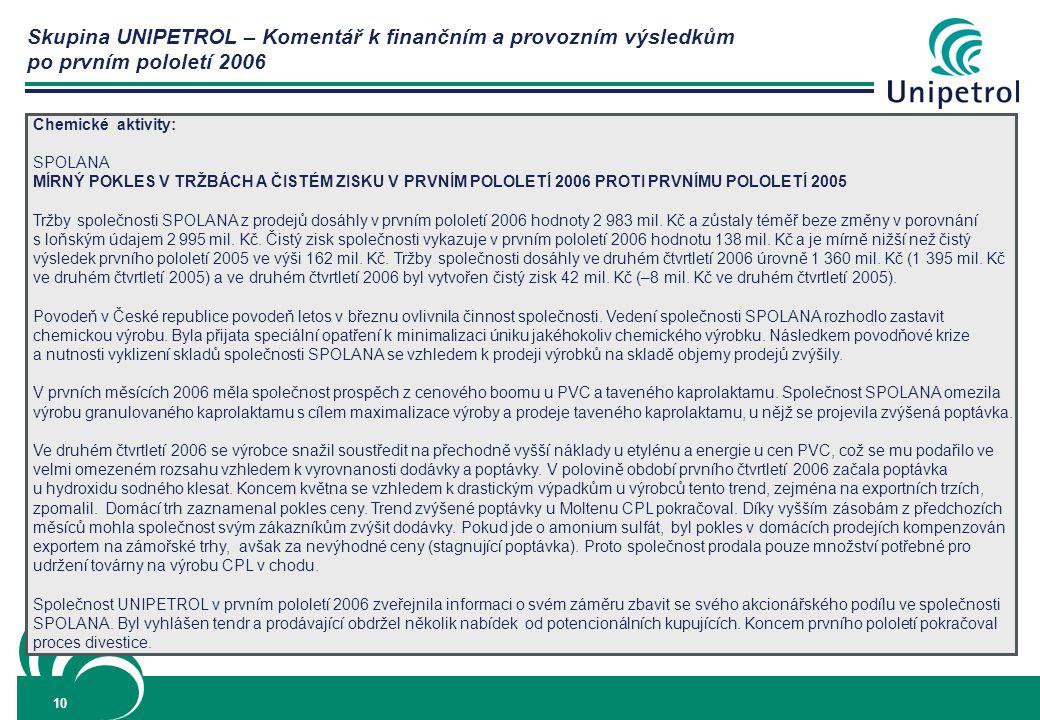 Skupina UNIPETROL – Komentář k finančním a provozním výsledkům po prvním pololetí 2006 10 Chemické aktivity: SPOLANA MÍRNÝ POKLES V TRŽBÁCH A ČISTÉM ZISKU V PRVNÍM POLOLETÍ 2006 PROTI PRVNÍMU POLOLETÍ 2005 Tržby společnosti SPOLANA z prodejů dosáhly v prvním pololetí 2006 hodnoty 2 983 mil.