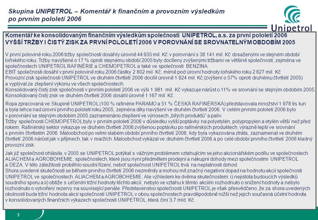 Skupina UNIPETROL – Komentář k finančním a provozním výsledkům po prvním pololetí 2006 4 Hlavní provozní údaje za období 2004-2006 *Skupina UNIPETROL 1) benzín, nafta, LTO, Jet 2) benzín, nafta, LPG 3) 51% České Rafinérské, 100% Paramo 4) benzín, nafta, LTO, Jet 5) benzín, nafta, LPG, LTO