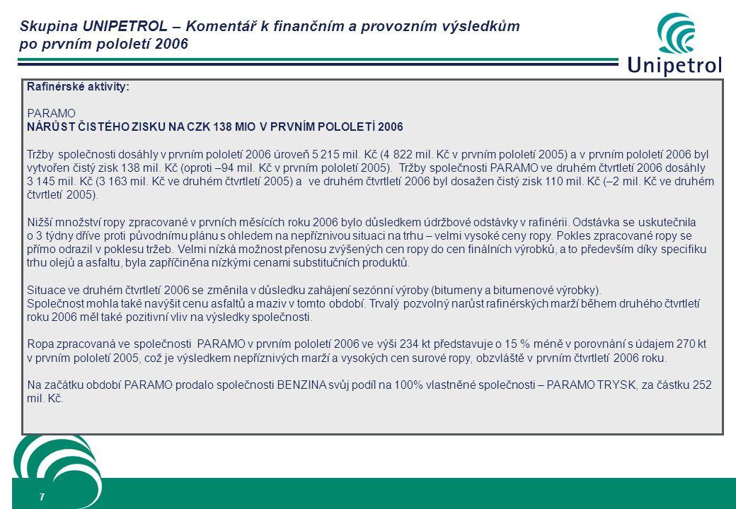 Skupina UNIPETROL – Komentář k finančním a provozním výsledkům po prvním pololetí 2006 7 Rafinérské aktivity: PARAMO NÁRŮST ČISTÉHO ZISKU NA CZK 138 MIO V PRVNÍM POLOLETÍ 2006 Tržby společnosti dosáhly v prvním pololetí 2006 úroveň 5 215 mil.