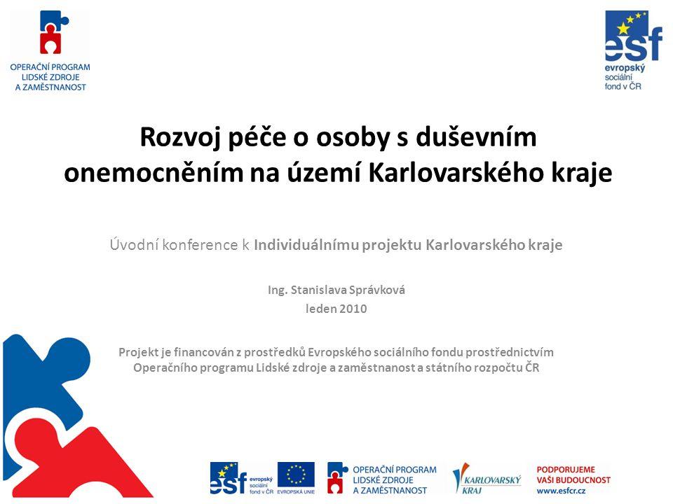 Rozvoj péče o osoby s duševním onemocněním na území Karlovarského kraje Úvodní konference k Individuálnímu projektu Karlovarského kraje Ing.