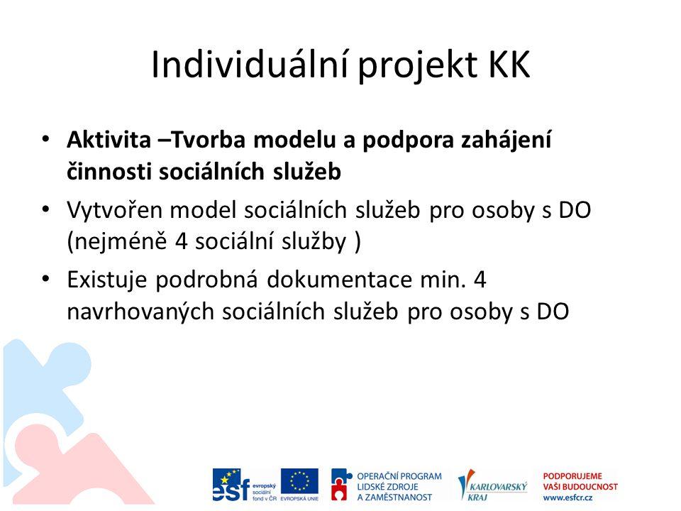 Individuální projekt KK Aktivita –Tvorba modelu a podpora zahájení činnosti sociálních služeb Vytvořen model sociálních služeb pro osoby s DO (nejméně 4 sociální služby ) Existuje podrobná dokumentace min.