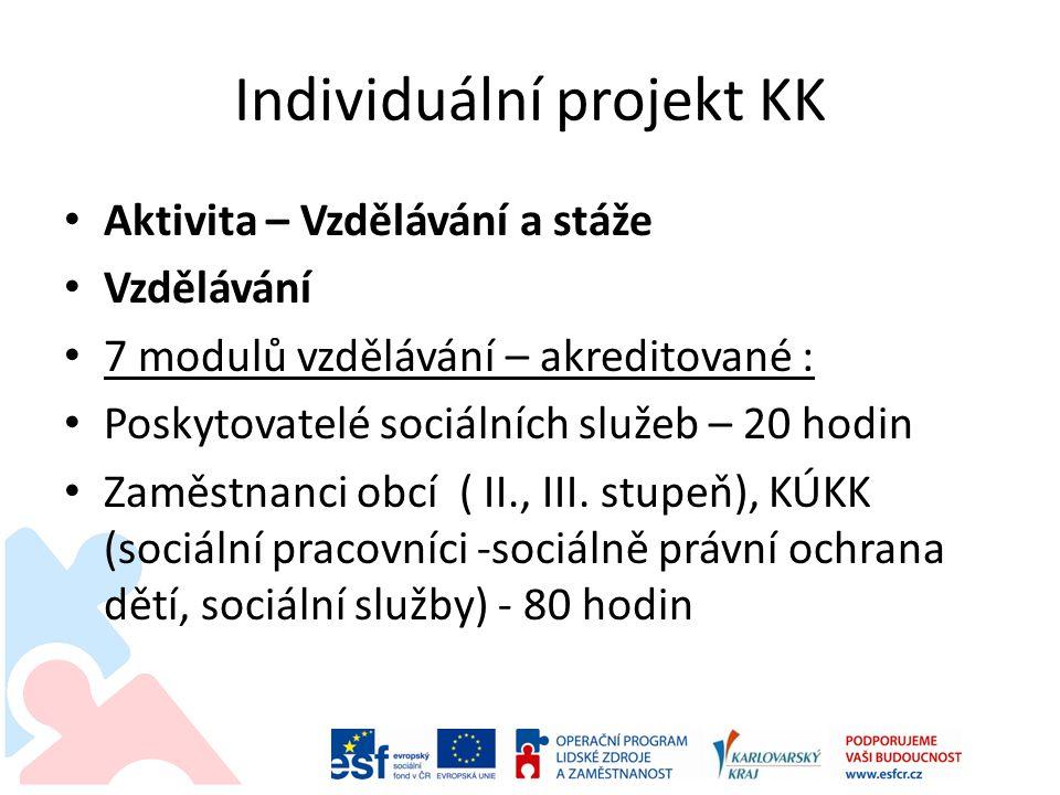 Individuální projekt KK Aktivita – Vzdělávání a stáže Vzdělávání 7 modulů vzdělávání – akreditované : Poskytovatelé sociálních služeb – 20 hodin Zaměstnanci obcí ( II., III.