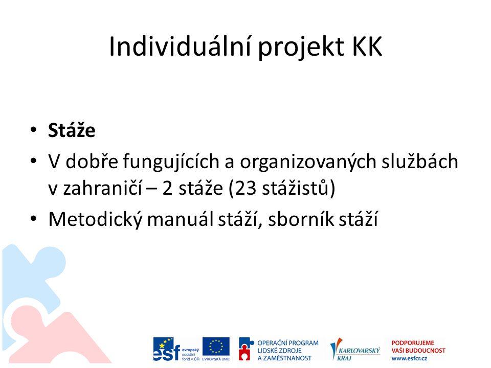 Individuální projekt KK Stáže V dobře fungujících a organizovaných službách v zahraničí – 2 stáže (23 stážistů) Metodický manuál stáží, sborník stáží