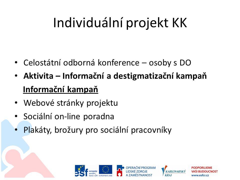 Individuální projekt KK Celostátní odborná konference – osoby s DO Aktivita – Informační a destigmatizační kampaň Informační kampaň Webové stránky projektu Sociální on-line poradna Plakáty, brožury pro sociální pracovníky