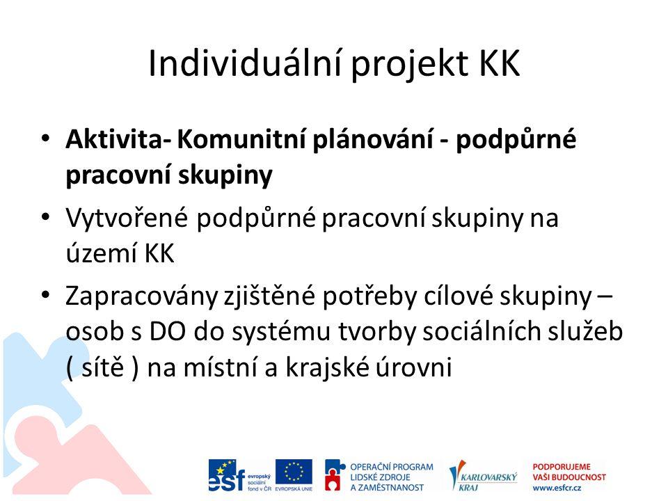 Individuální projekt KK Aktivita- Komunitní plánování - podpůrné pracovní skupiny Vytvořené podpůrné pracovní skupiny na území KK Zapracovány zjištěné potřeby cílové skupiny – osob s DO do systému tvorby sociálních služeb ( sítě ) na místní a krajské úrovni