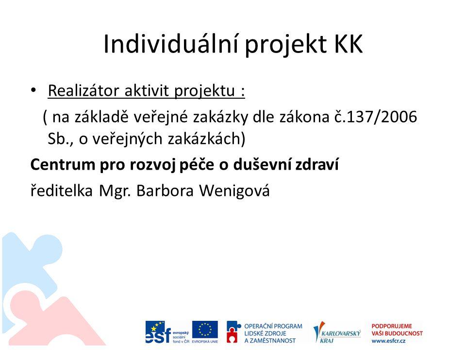 Individuální projekt KK Realizátor aktivit projektu : ( na základě veřejné zakázky dle zákona č.137/2006 Sb., o veřejných zakázkách) Centrum pro rozvoj péče o duševní zdraví ředitelka Mgr.