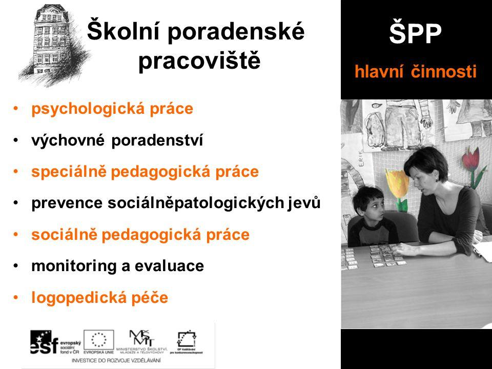 psychologická práce výchovné poradenství speciálně pedagogická práce prevence sociálněpatologických jevů sociálně pedagogická práce monitoring a evalu