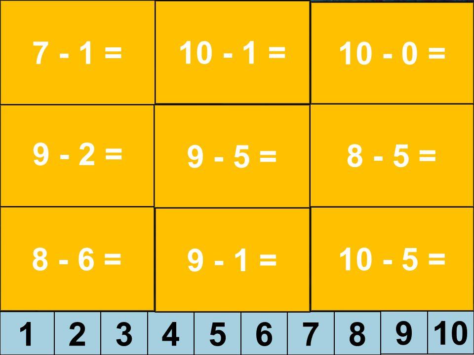 12345678 910 7 - 1 = 9 - 2 = 8 - 6 = 10 - 1 = 9 - 1 = 10 - 5 = 8 - 5 = 10 - 0 = 9 - 5 =