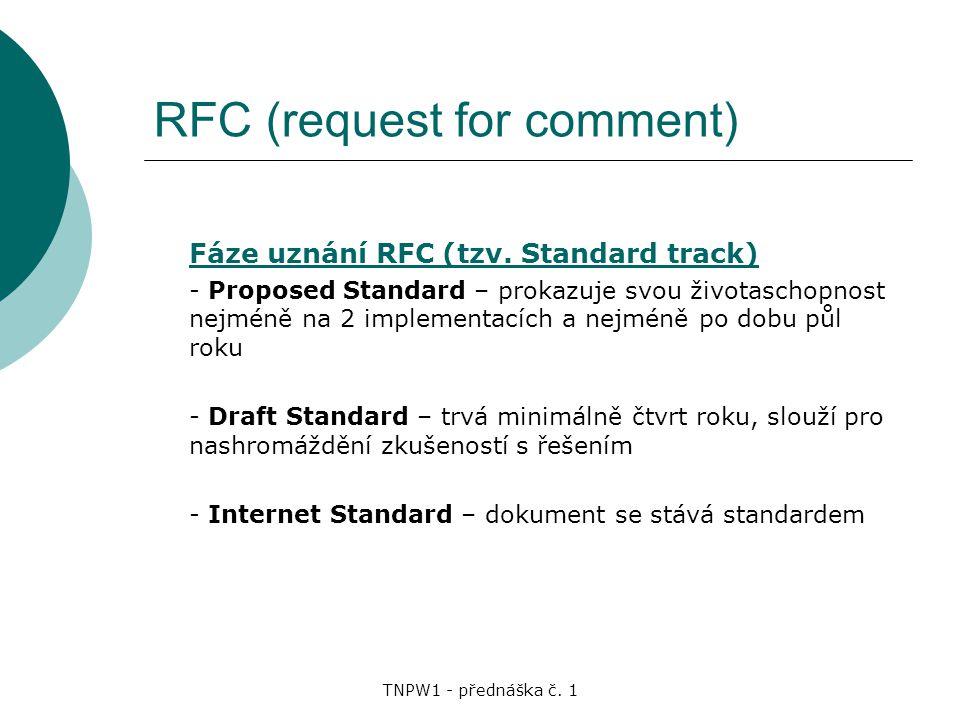 TNPW1 - přednáška č.1 RFC (request for comment) Fáze uznání RFC (tzv.